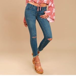 Free People fray bottom ripped skinny jeans